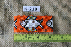 Art# K210  3+ inch. Original Kayapo Traditional Peyote stitch Beaded Bracelet from Brazil.