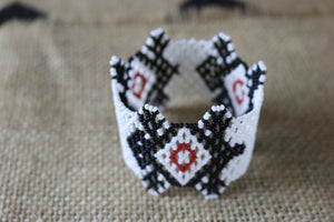 Art# K211  3 inch. Original Kayapo Traditional Peyote stitch Beaded Bracelet from Brazil.
