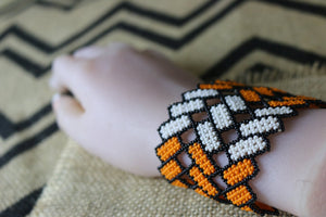 Art# K215  3 inch. Original Kayapo Traditional Peyote stitch Beaded Bracelet from Brazil.