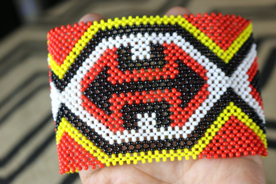 Art# K223  4+ inch. Original Kayapo Traditional Peyote stitch Beaded Bracelet from Brazil.