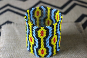 Art# K230  4.5 inch. Original Kayapo Traditional Peyote stitch Beaded Bracelet from Brazil.