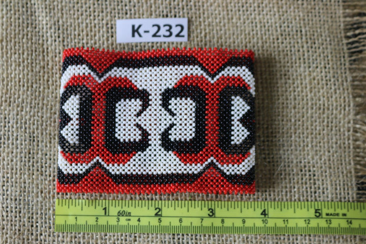 Art# K232  3.5+ inch. Original Kayapo Traditional Peyote stitch Beaded Bracelet from Brazil.