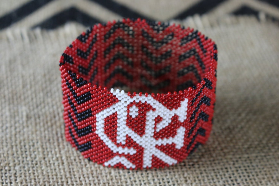 Art# K246  3.5+ inch. Original Kayapo Traditional Peyote stitch Beaded Bracelet from Brazil.