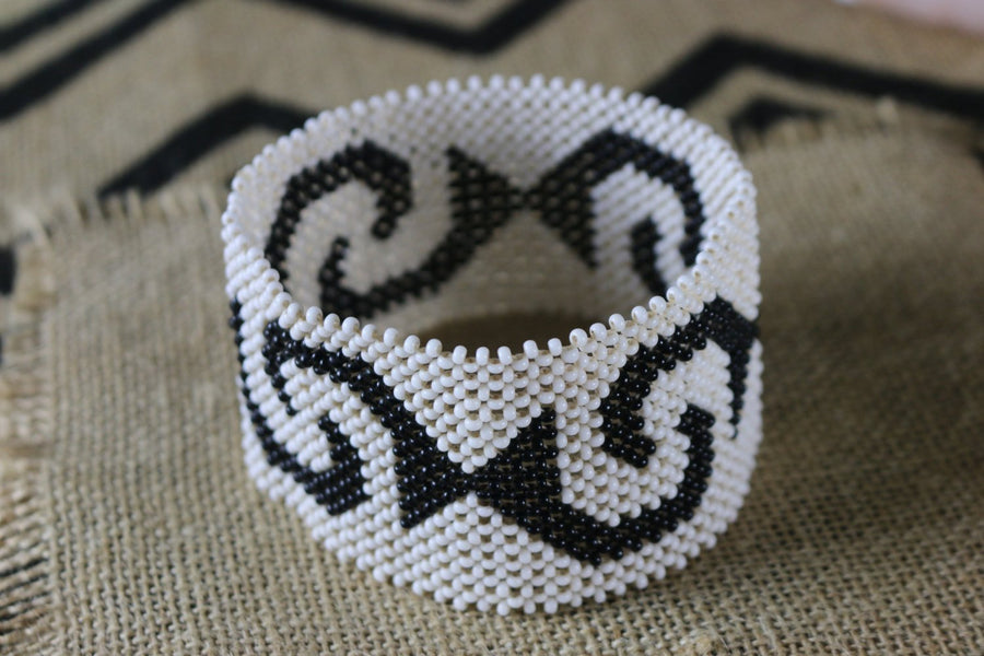 Art# K250  5 inch. Original Kayapo Traditional Peyote stitch Beaded Bracelet from Brazil.