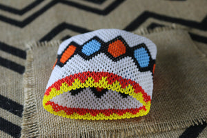 Art# K251  4.5+ inch. Original Kayapo Traditional Peyote stitch Beaded Bracelet from Brazil.