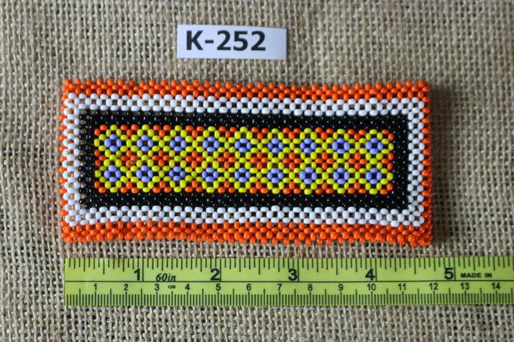 Art# K252  4.5+ inch. Original Kayapo Traditional Peyote stitch Beaded Bracelet from Brazil.