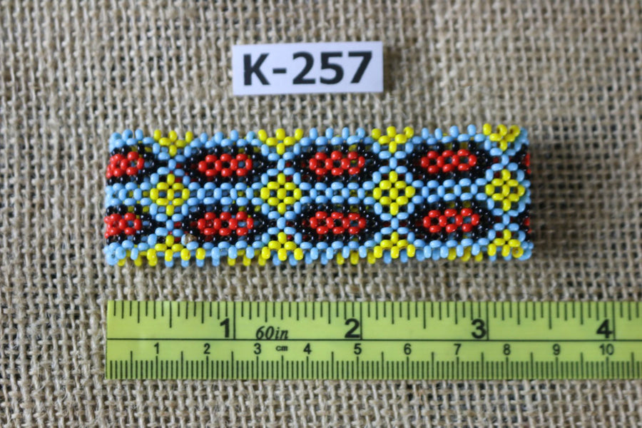 Art# K257  3+ inch. Original Kayapo Traditional Peyote stitch Beaded Bracelet from Brazil.