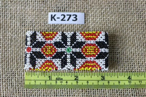 Art# K273  3+ inch. Original Kayapo Traditional Peyote stitch Beaded Bracelet from Brazil.