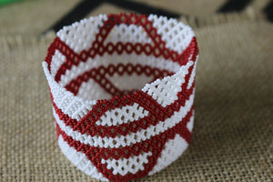 Art# K275  3+ inch. Original Kayapo Traditional Peyote stitch Beaded Bracelet from Brazil.