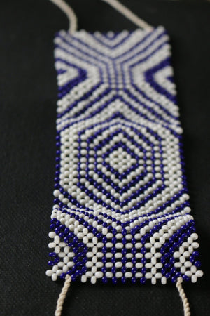 Art# K285  3+ inch. Original Kayapo Traditional Peyote stitch Beaded Bracelet from Brazil.