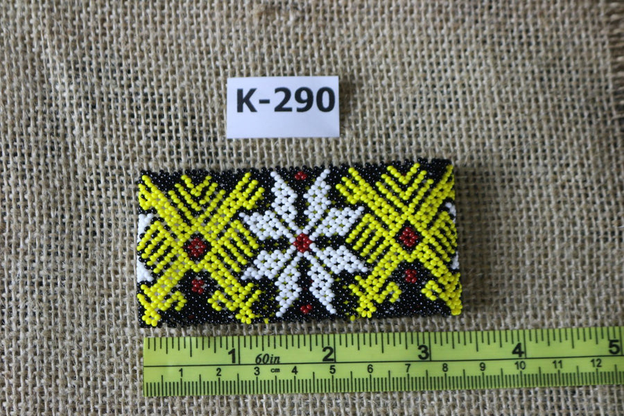 Art# K290  3+ inch. Original Kayapo Traditional Peyote stitch Beaded Bracelet from Brazil.