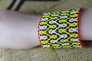 Art# K311  3 inch. Original Kayapo Traditional Peyote stitch Beaded Bracelet from Brazil.