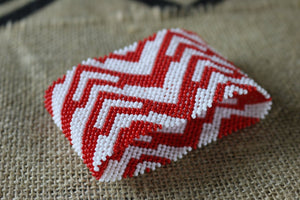 Art# K316  3+ inch. Original Kayapo Traditional Peyote stitch Beaded Bracelet from Brazil.