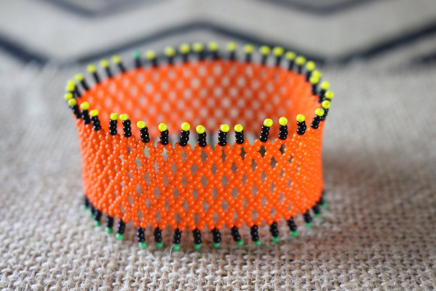 Art# K322  3+ inch. Original Kayapo Traditional Peyote stitch Beaded Bracelet from Brazil