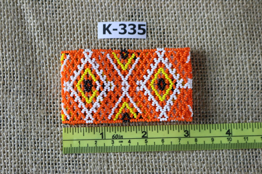 Art# K355  3+ inch. Original Kayapo Traditional Peyote stitch Beaded Bracelet from Brazil