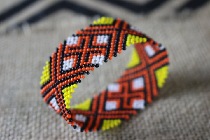 Art# K343  3+ inch. Original Kayapo Traditional Peyote stitch Beaded Bracelet from Brazil