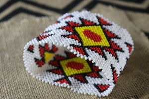 Art#  K370  4+  inch. Original Kayapo Traditional Peyote stitch Beaded Bracelet from Brazil