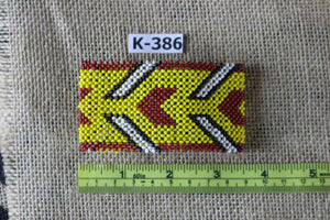 Art# K386  3.5 inch. Original Kayapo Traditional Peyote stitch Beaded Bracelet from Brazil