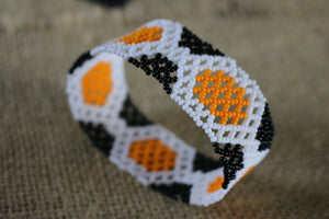 Art# K393  3+ inch. Original Kayapo Traditional Peyote stitch Beaded Bracelet from Brazil