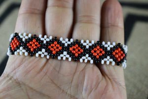 Art# K395  3.5+ inch. Original Kayapo Traditional Peyote stitch Beaded Bracelet from Brazil