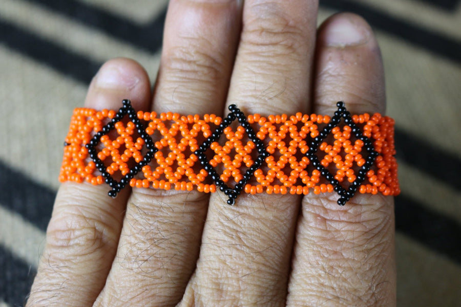 Art# K423  3+ inch. Original Kayapo Traditional Peyote stitch Beaded Bracelet from Brazil