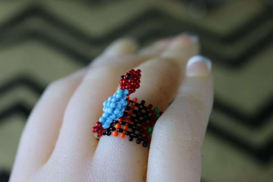 Art# K432  1 inch. Original Kayapo Traditional Peyote stitch Beaded Ring from Brazil
