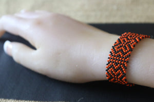 Art# K9  3+ inch Original Kayapo Traditional Peyote stitch Beaded Bracelet from Brazil.