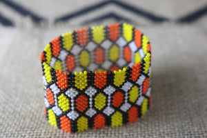 Art# K34 3.5 inch  Original Kayapo Traditional Peyote stitch Beaded Bracelet from Brazil.