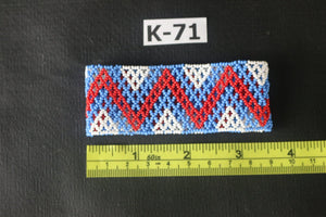 Art# K71  3.5 inch Original Kayapo Traditional Peyote stitch Beaded Bracelet from Brazil.