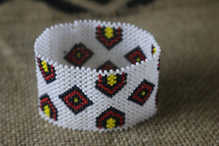 Art# K81 3 inch. Original Kayapo Traditional Peyote stitch Beaded Bracelet from Brazil.
