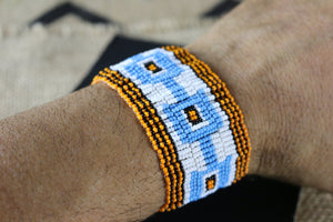 Art# K150  3.5 inch Original Kayapo Traditional Peyote stitch Beaded Bracelet from Brazil.