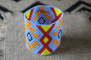 Art# K167  3.5 inch Original Kayapo Traditional Peyote stitch Beaded Bracelet from Brazil.