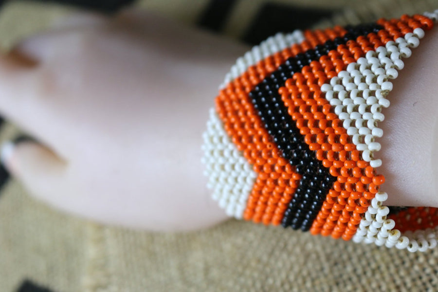 Art# K169  3.5'+inch. Original Kayapo Traditional Peyote stitch Beaded Bracelet from Brazil.