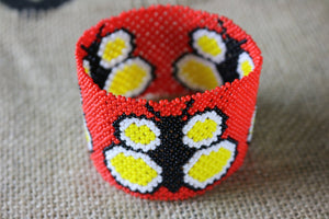Art# K186  3+ inch. Original Kayapo Traditional Peyote stitch Beaded Bracelet from Brazil.