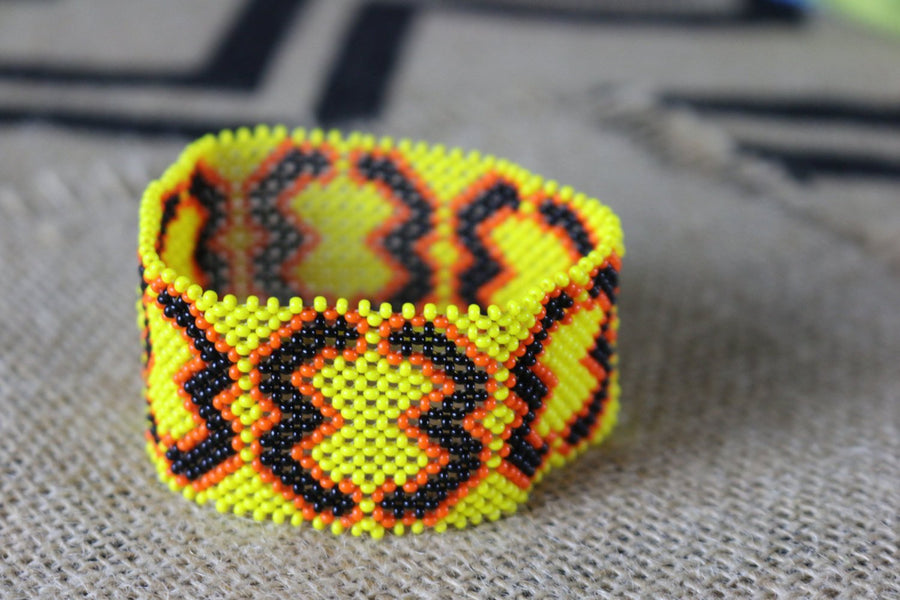 Art# K195  3.5 inch. Original Kayapo Traditional Peyote stitch Beaded Bracelet from Brazil.