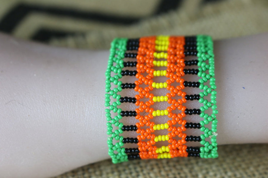 Art# K218  2.5+ inch. Original Kayapo Traditional Peyote stitch Beaded Bracelet from Brazil.