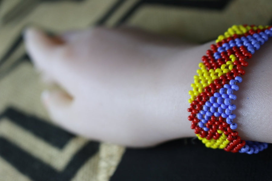 Art# K233  4+ inch. Original Kayapo Traditional Peyote stitch Beaded Bracelet from Brazil.