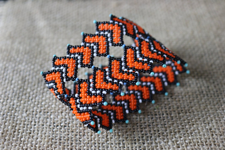 Art# K234  3+ inch. Original Kayapo Traditional Peyote stitch Beaded Bracelet from Brazil.