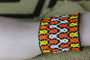 Art# K244  3+ inch. Original Kayapo Traditional Peyote stitch Beaded Bracelet from Brazil.