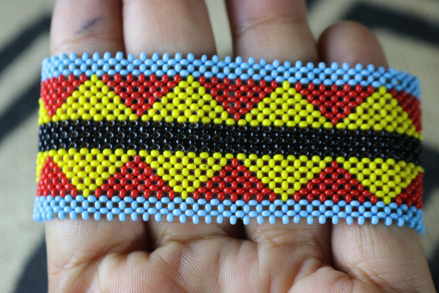 Art# K262  3.5 inch. Original Kayapo Traditional Peyote stitch Beaded Bracelet from Brazil.