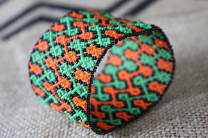 Art# K295  3+ inch. Original Kayapo Traditional Peyote stitch Beaded Bracelet from Brazil.