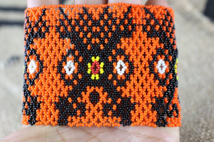 Art# K299  3.5 inch. Original Kayapo Traditional Peyote stitch Beaded Bracelet from Brazil.