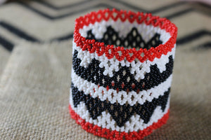 Art# K308  3.5  inch. Original Kayapo Traditional Peyote stitch Beaded Bracelet from Brazil.