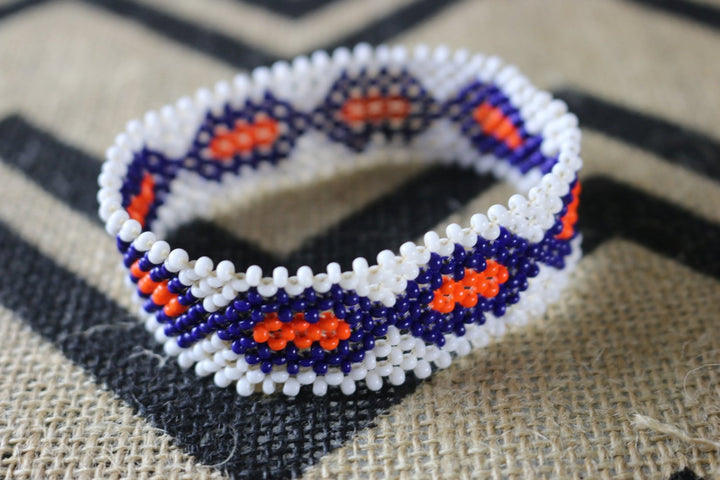Art# K324  4  inch. Original Kayapo Traditional Peyote stitch Beaded Bracelet from Brazil