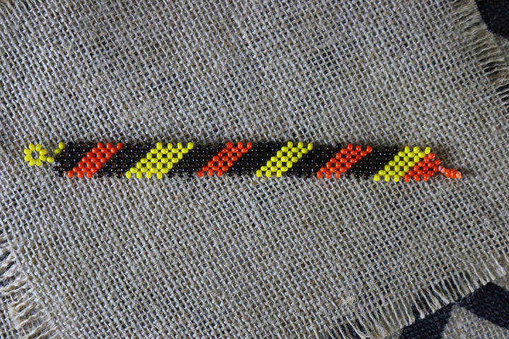 Art# K354 2.5+ inch. Original Kayapo Traditional Peyote stitch Beaded Bracelet from Brazil