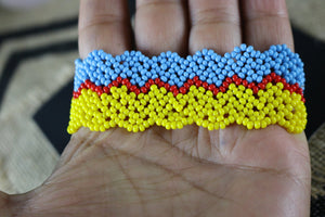 Art# K358  3.5+ inch. Original Kayapo Traditional Peyote stitch Beaded Bracelet from Brazil