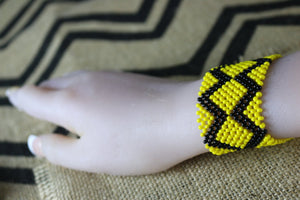 Art# K375 3+  inch. Original Kayapo Traditional Peyote stitch Beaded Bracelet from Brazil