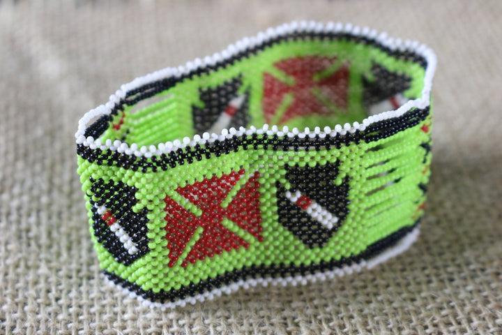 Art# K380  3+ inch. Original Kayapo Traditional Peyote stitch Beaded Bracelet from Brazil