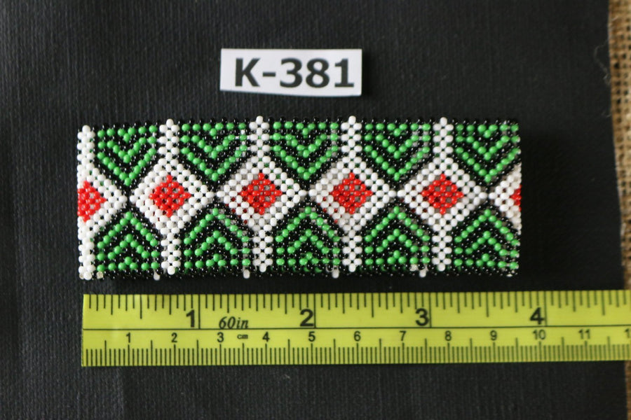 Art# K381  3.5+ inch. Original Kayapo Traditional Peyote stitch Beaded Bracelet from Brazil