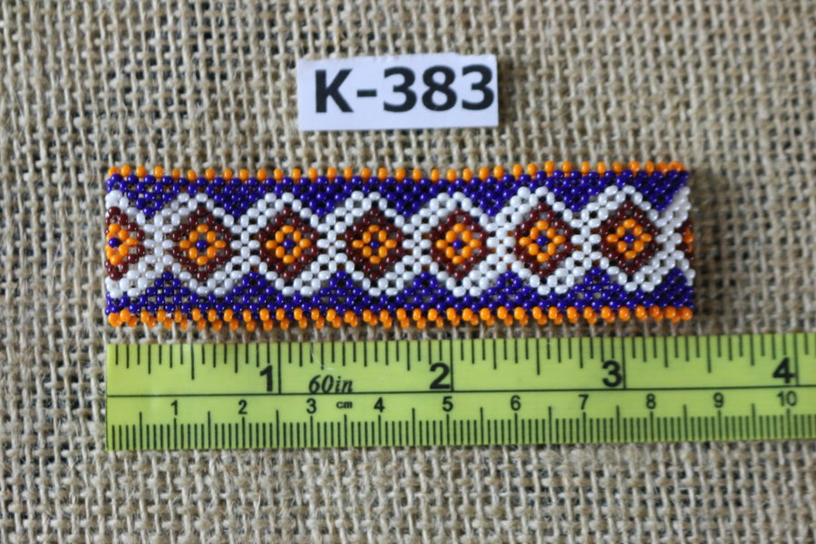 Art# K383  3+ inch. Original Kayapo Traditional Peyote stitch Beaded Bracelet from Brazil